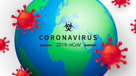 New Coronavirus 2019-nKoV. The covert virus 19-NKP. Background with realistic 3d red viral cells. Symbol of danger. Latest news. Vector