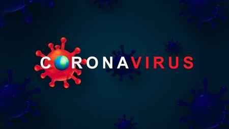New Coronavirus 2019-nKoV. The covert virus 19-NKP. Background with realistic 3d red viral cells. Symbol of danger. Latest news. Vector illustration Ilustracja