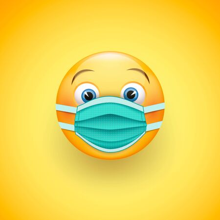 Smile emoticon in protective surgical mask. Icon for coronavirus outbreak. Wear a medical mask to prevent the spread of the disease. Vector