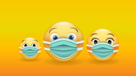 Be responsible and protected - a family of 3D yellow emoticons in medical masks. Wear a medical mask to prevent the spread of the disease. Vector Ilustracja