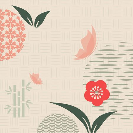 Japanese and chinese vector pattern. Asian background. Retro style. Abstract template for your design .Vector i