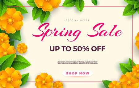 Spring sale flyer template with paper cut flowers and leaves with frame. Light background. Vector.Fresh design for posters, brochures or vouchers. Zdjęcie Seryjne - 146076308