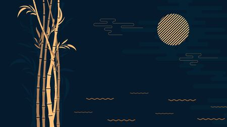 Abstract stylized dark background bamboo forest at night with the moon.Template for poster, postcard, flyer .Vector illustration