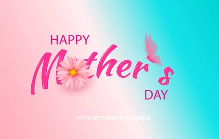 Mother s Day card with beautiful blooming flowers on a gentle gradient background in pastel colors. Happy mother s day. Holiday Sale. Vector illustration Zdjęcie Seryjne - 145680536