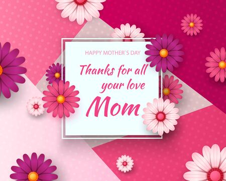 Mother s day card with beautiful blooming flowers on a gentle geometric background in pastel colors. Happy mother s day. Holiday sale. Vector illustration Zdjęcie Seryjne - 145681142