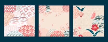 Floral frame. Japanese pattern. Floral celebration in Chinese graphics style. Invitation card with geometric symbols. Asian background. Retro style. Zdjęcie Seryjne - 146076329