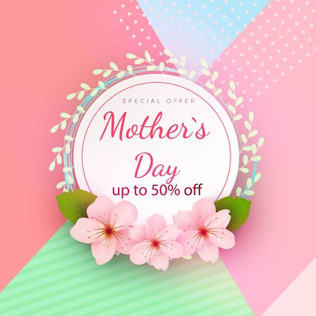Mother s day card with beautiful blooming flowers on a gentle geometric background in pastel colors. Happy mother s day. Holiday sale. Vector illustration Ilustracja