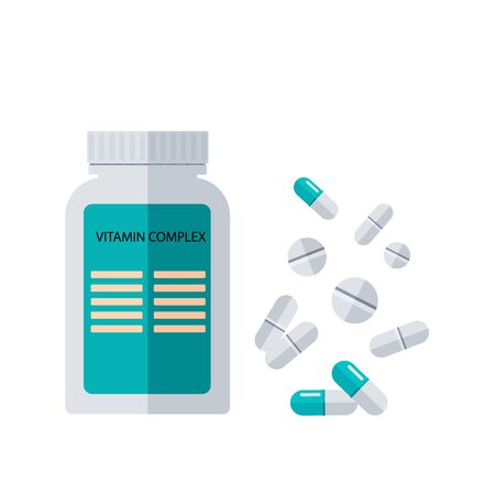 Vitamin complex, plastic bottle and pills, capsules isolated on white background. Precautions in the fight against coronavirus. Vector illustration