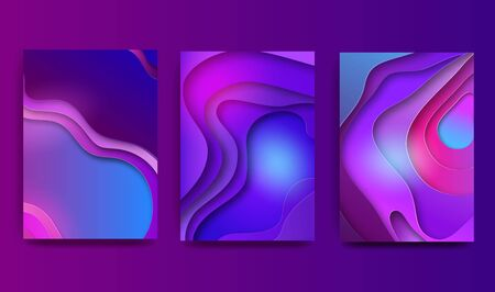 A4 abstract color 3d paper art illustration set. Contrasting colors. Fashionable gradients. Design layout for banners, presentations, flyers, posters and invitations. Vector illustration. Ilustracja