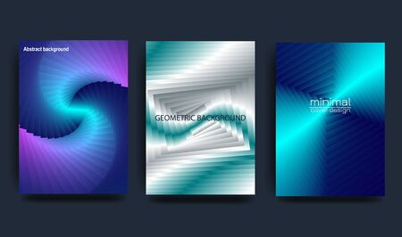 Bright abstract gradient background with geometric shapes and curved lines. Holographic effect. Foil.Design for covers, posters, wrapping paper. Vector illustration