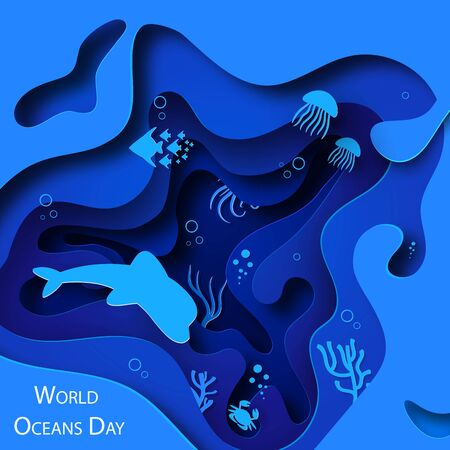 Paper art concept of World Oceans Day. A holiday dedicated to the protection and preservation of the oceans, water, ecosystems. Blue 3d origami kraft paper of sea waves, fish and plants.Vector Zdjęcie Seryjne - 147228185