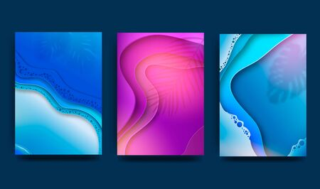 A4 abstract color 3d paper art illustration set. Contrasting colors. Fashionable gradients. Design layout for banners, presentations, flyers, posters and invitations. Vector Zdjęcie Seryjne - 147228188