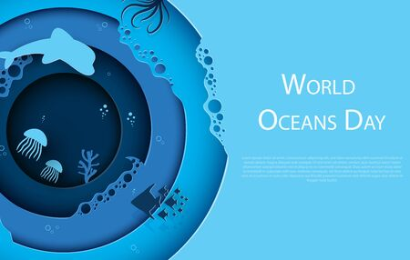Paper art concept of World Oceans Day. A holiday dedicated to the protection and preservation of the oceans, water, ecosystems. Blue 3d origami kraft paper of sea waves, fish and plants.Vector illustration. Zdjęcie Seryjne - 147228189