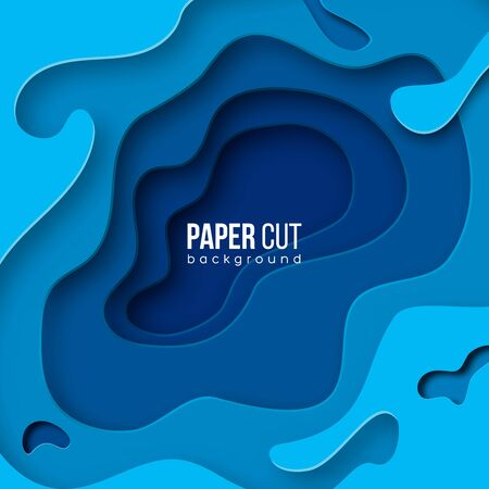 Abstract blue background 3d wave with paper cut shapes. Vector design layout for business presentations, flyers, posters. Vector illustration.