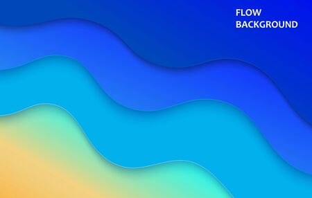 Abstract blue sea and beach summer background with paper waves and seashore. Cutted paper style. Vector illustration Zdjęcie Seryjne - 147166365