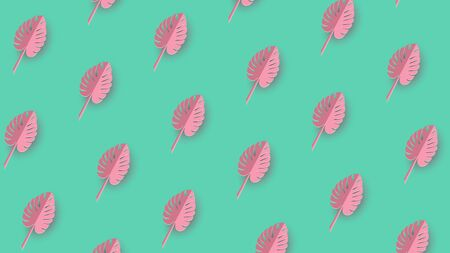 Abstract green background with pink monstera leaves .Vector. Summer tropical leaf. Origami exotic hawaiian jungle, summertime background. Paper cut style. Ilustracja