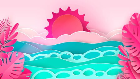 Sea waves and tropical beach in paper art style. Travel concept vector illustration. Summer vacation poster in paper cut design.