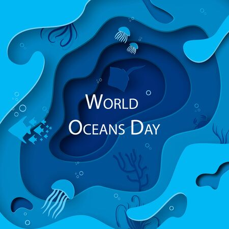 Paper art concept of World Oceans Day. A holiday dedicated to the protection and preservation of the oceans, water, ecosystems. Blue 3d origami kraft paper of sea waves, fish and plants.Vector Ilustracja