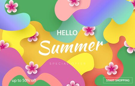 Hello summer typographic design with abstract shapes of paper cutting and tropical flowers. Template for banner, postcard, poster. Vector Zdjęcie Seryjne - 147787476