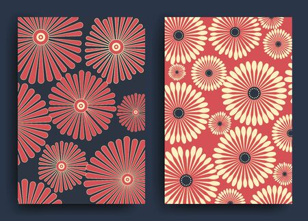 Dark blue and red Japanese and Chinese patterns with stylized flowers for the design of postcards, posters, envelopes, walls, paper. Vector Zdjęcie Seryjne - 149048078