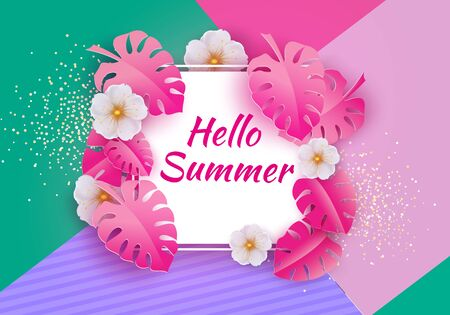 Hello Summer Typographic Vector Design with Tropical Exotic Leaves and Flowers. Summer Holiday Concept with Jungle Palm Leaves Ilustracja