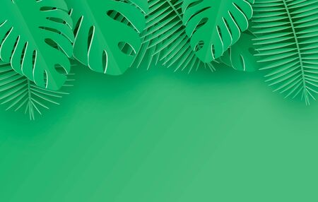 Tropical paper palm, monstera leaves frame. Summer tropical leaf. Origami exotic hawaiian jungle, summertime background. Paper cut style.Green background