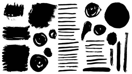 Set of black paint, ink brush strokes, brushes, lines. Dirty artistic design elements.Vector Ilustracja