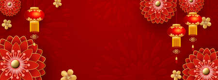 Chinese Greeting Card for 2021 New Year. Red chrysanthemums and golden sakura flowers, clouds and Asian elements on a red background. Vector