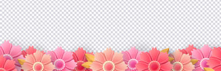 Spring flowers isolated on transparent background. Bright, summer, fresh flower border. Template for holiday cards. Vector