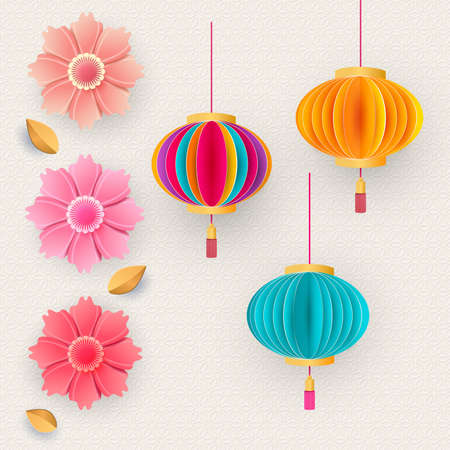 Vector Chinese 3d paper cut badges, clouds and sakura flowers. Bright flowers and lanterns. Paper style. Happy New Year 2021 Vector