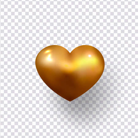 Big golden heart isolated on a transparent background