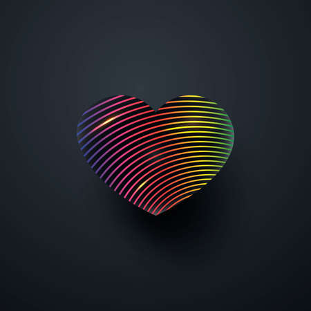 Black heart with a gradient rainbow pattern. Isolated on black background.Vector