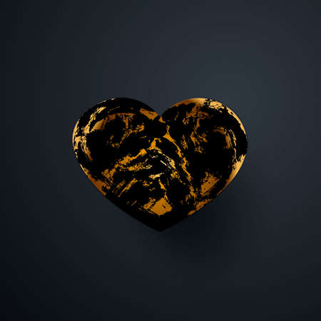Black heart with an abstract pattern. Isolated over black background. Vector