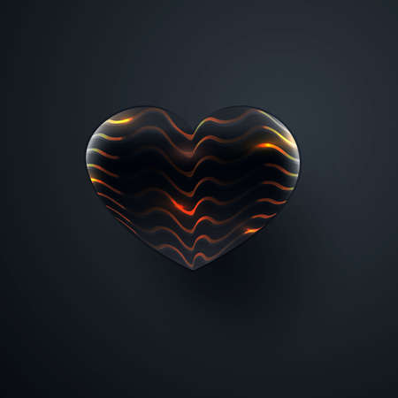 Black heart with an abstract pattern. Isolated over black background. Vector Zdjęcie Seryjne - 152711686