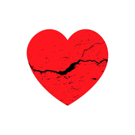 Vector illustration of a grunge red heart. Heart with a black crack. Vector Ilustracja