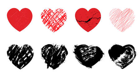 Set grunge red and black hearts. Cracks, scratches and ink. Vector