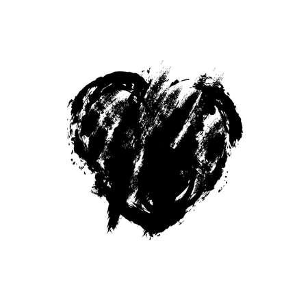 Vector illustration of grunge black heart.Hand holding black heart.