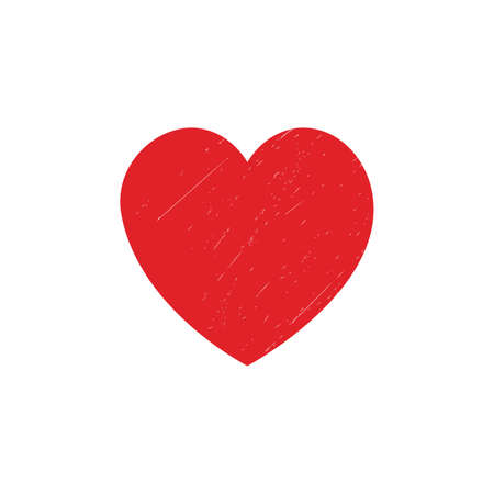 Vector illustration of a grunge red heart. Heart with small cracks. Vector