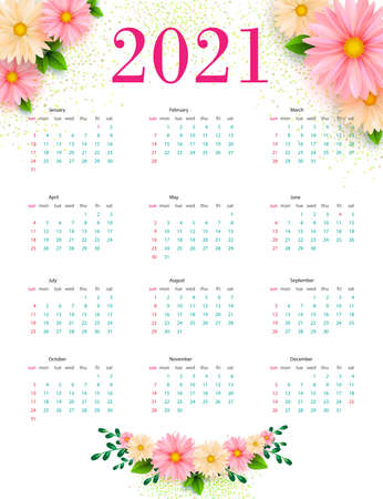Calendar 2021 with floral designs. Template. Vector illustration.