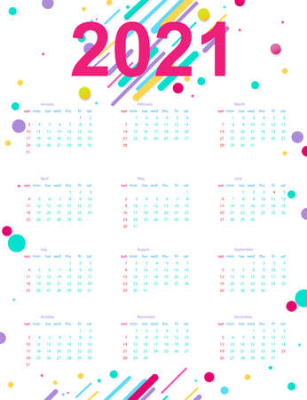 Calendar 2021 with abstract geometric background. Template. Vector illustration