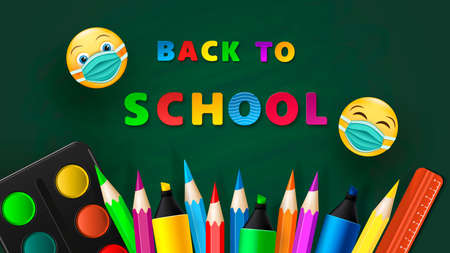 Back to school - blackboard with school supplies. Vector Ilustracja