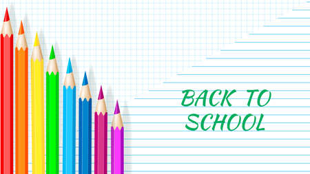 Back to School - Exercise book worksheet with colored pencils. Vector Ilustracja