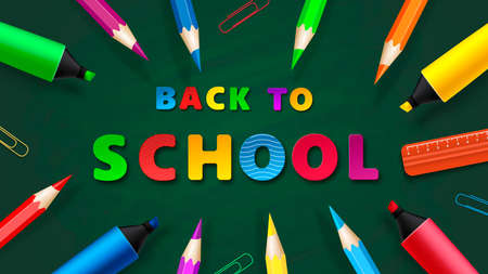 Back to School - Chalkboard with pencils and markers. Vector Ilustracja