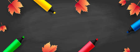 Back to School - blackboard with colored pencils and autumn leaves. Vector Ilustracja