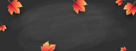 Back to school - school board with autumn leaves. Template for banner.Vector