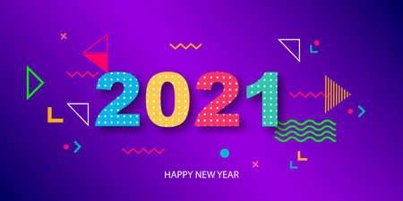 Happy New Year 2021. Paper 3d numbers on a gradient abstract background. Geometric colored shapes.Vector illustration.