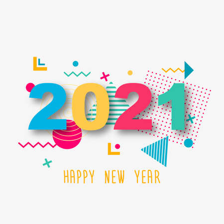 Happy New Year 2021. Paper 3d numbers on a white abstract background. Geometric colored shapes.Vector illustration. Ilustracja
