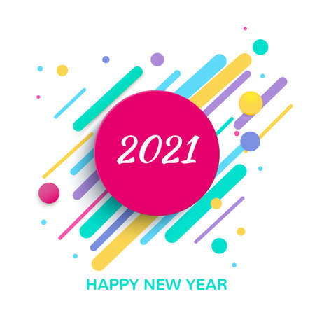 Happy New Year 2021. Colored geometric shapes on a white background. Vector illustration.