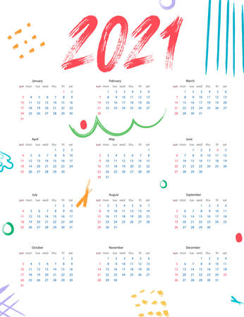 Calendar 2021 Abstract Background. Simulate Brush Strokes. Template. Vector