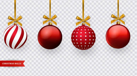 Set of realistic red Christmas balls with various patterns. Vector Ilustracja